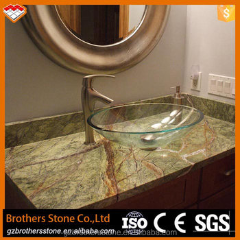 High Polished India Green Marble Natural Stone Rainforest Bathroom Vanity Top Slab Quality Best
