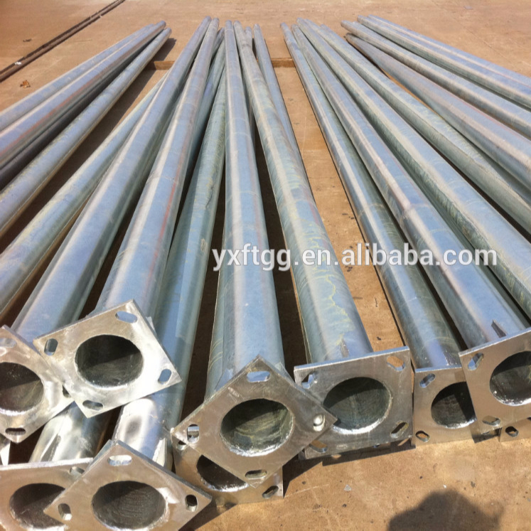 Steel street lamp lighting poles with flange and anchor bolts