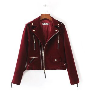 winter European and American wind pure zipper lapel velvet jacket Outwear clothes