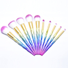 New Arrival 2017 personalized 10pcs glitter unicorn Makeup Brush rainbow cosmetic brush