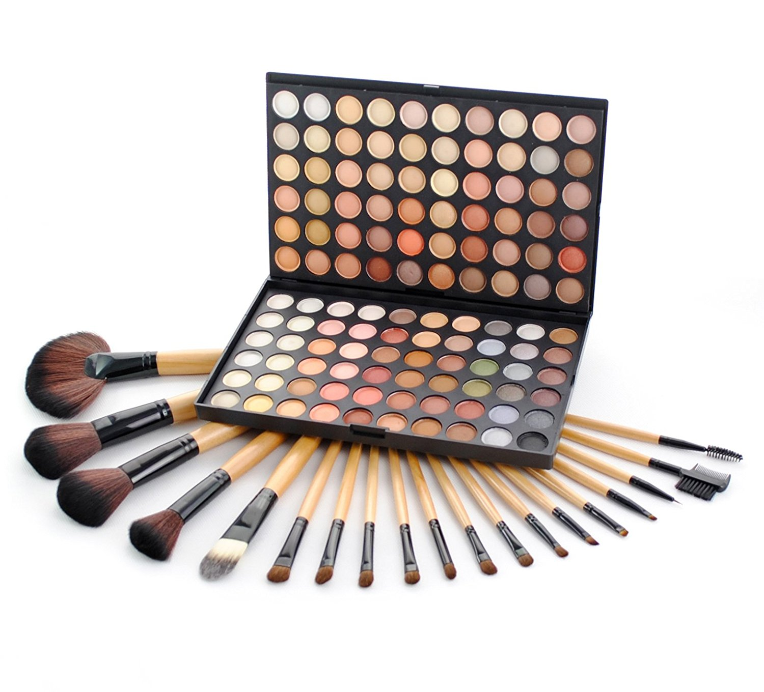Frola Cosmetics Professional 120 Warm Colors Eyeshadow Makeup Palette #04 + 19 Pcs Makeup Brush Set by Frola Cosmetics