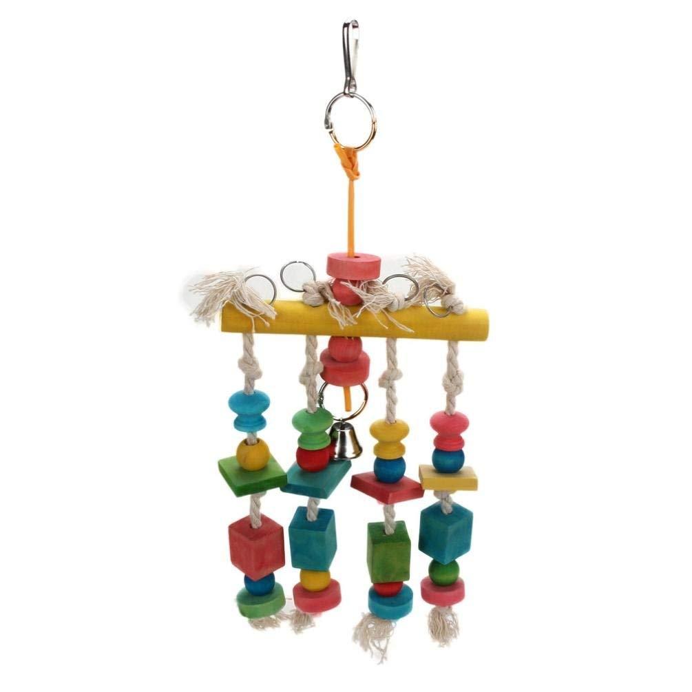 pet Toy,Pikolai Parrot Pet Bird Macaw Hanging Chew Toy Bells Wood Blocks Swing Colorful