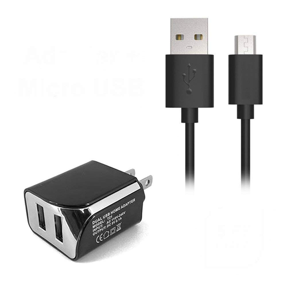 2in1 Wall/Travel/Home Charger Dual Port USB + 5FT Micro Usb Cable for TMobile/MetroPCS Alcatel OneTouch POP 7 P310 P310a Tablet 2in1 (E2B)
