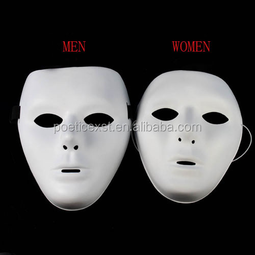Masquerade ball White plastic mask Men and women's Hip - hop mask with elastic