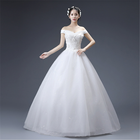 2019 Korean Fashion off shoulder elegant ladies lace up maxi floor length sexy white bridal ball gown wedding dress