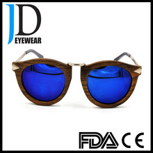 Hipster style old color natural solid wood round sunglasses with blue lens