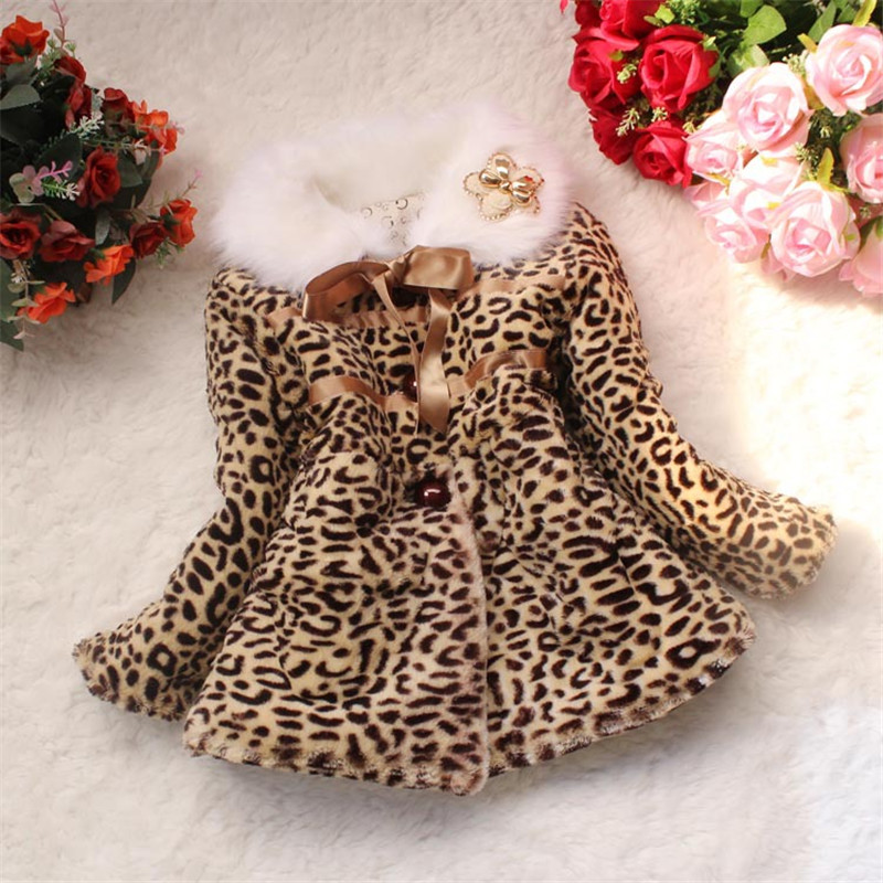 Kids Girls Winter 2015 New Baby Children Thick Coat Jacket Cotton Padded Leopard Coats Outerwear Baby
