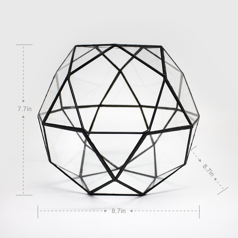 Modern handmade art glass geometric dome glass container big triangle pentagon mix 32 faces indoor juicyair plants for wedding