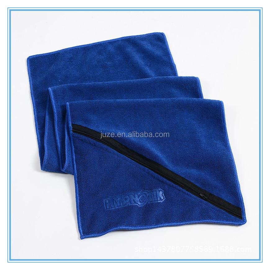 Microfiber Gym Towel With Zip: Gaoyang Factory Supply Borduurwerk Microfiber Custom Gym