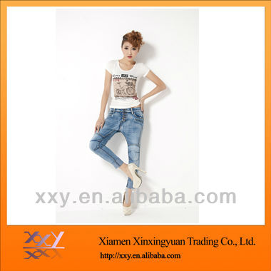 Fashion Cotton Stretch 70% Length Jeans Women High Waist 2012