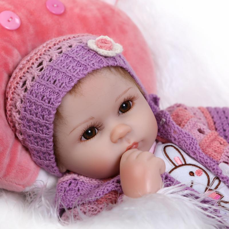 Soft silicone reborn baby doll toys lifelike 40cm vinyl reborn babies play house bedtime toy high