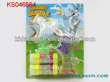 transparent rabbit blowing soap bubble gun toys with flashing and music