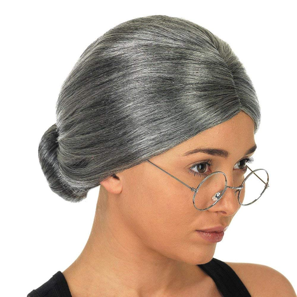 South Weekend Old Lady Grandma Granny Grey Wig Bun Hair Grand Mother Fancy Dress Costumes 2018