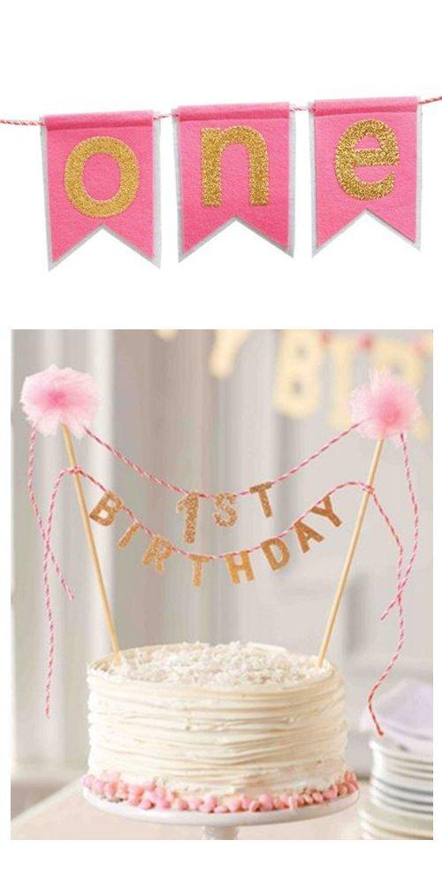 Mud Pie Girls 1st Birthday Cake Topper Matching High Chair Banner Set