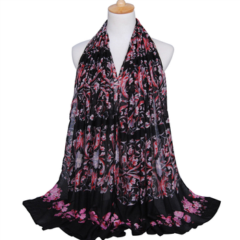 Zakiyyah BS332 Light Hijab for Summer Muslim Women Ladies Dresses Casual Arab Scarf with Floral Pattern
