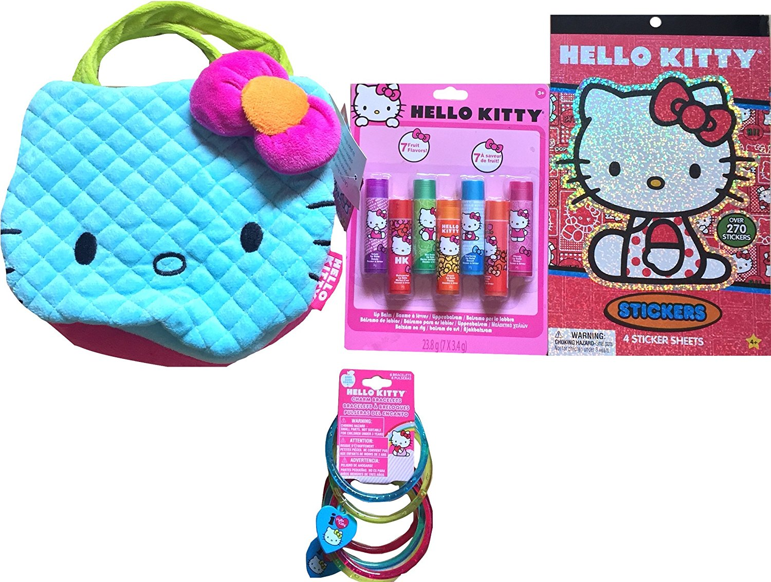 Hello Kitty Children's Pretend Play Cosmetic Gift Set Includes Hello Kitty Face Purse , Hello Kitty Fruit Flavored Lip Balms, Hello Kitty Charm Bracelets, Hello Kitty Stickerbook 4 Sheets !