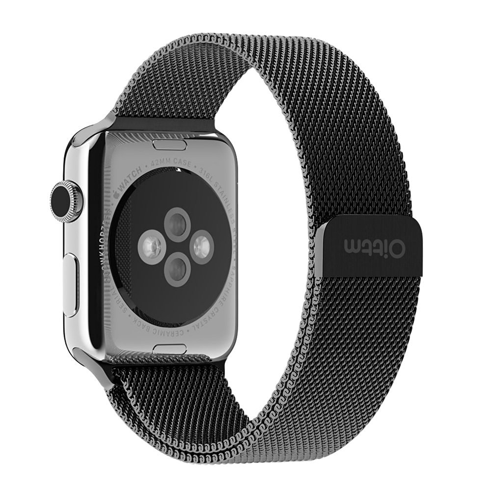 Watch Band for Apple Watch, Oittm 38mm Milanese Loop with Unique Magnet Lock Ultra Lightweight Mesh Stainless Steel Bracelet Strap with Connector for Apple iWatch (38mm Black)