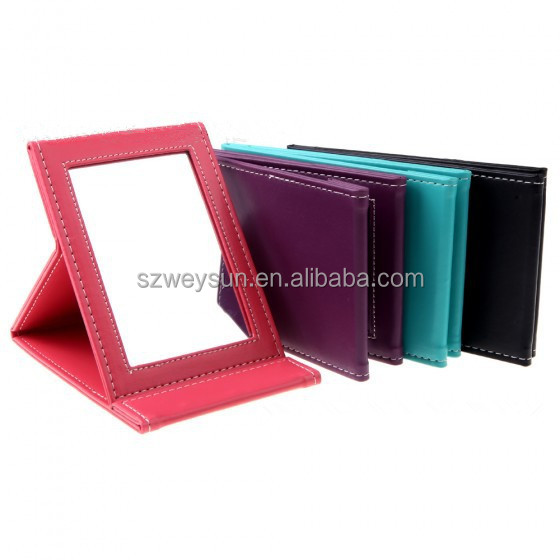 Portable Foldable Leather Mirror Women Beauty Make up Mirror Cosmetic Mirror, Purple;green;black;red