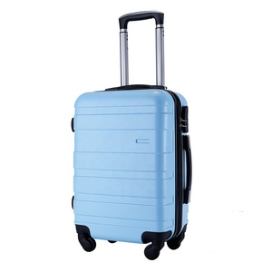 Cheap promotional hard shell blue spinner ABS plastic luggage suitcase on wheels