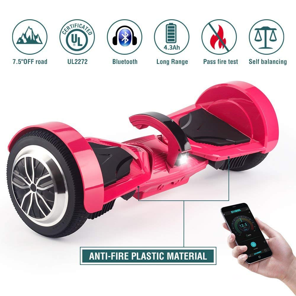 "Koowheel Off Road Hoverboard 7.5"" All Terrain Hoverboard Bluetooth Speakers LED Lights,UL2272 Certified Two Wheel Self Balancing Scooter Adults Kids,App Enabled(12Km/h 220lbs Max)"