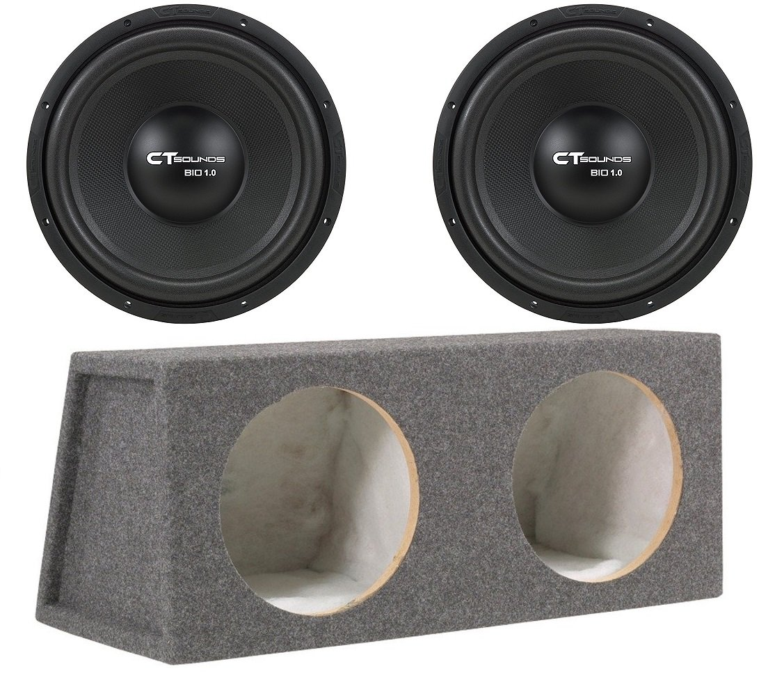 Dual 12 Inch Car Subwoofer Bass Package with Box by CT Sounds
