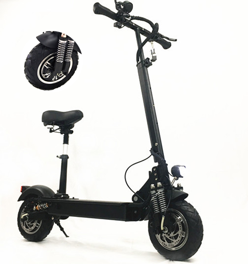 FLJ New item T11 folding electric scooter 2000w with seat two wheel 11inch electric scooter 2400w for adults, Black