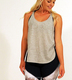 Heather Grey GYM Fitness Drop Hem Loose Tank Top For Women