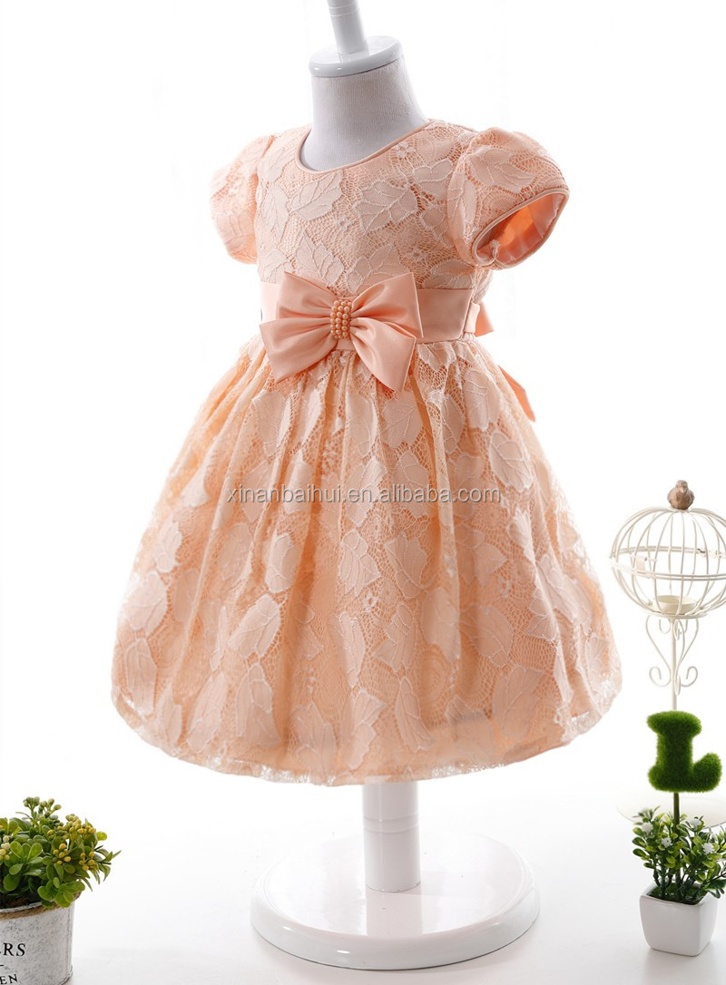 Orange Lace Baby Princess Dress for 1 years kids lovely baby girl tutu dress for baptism party dress with bow