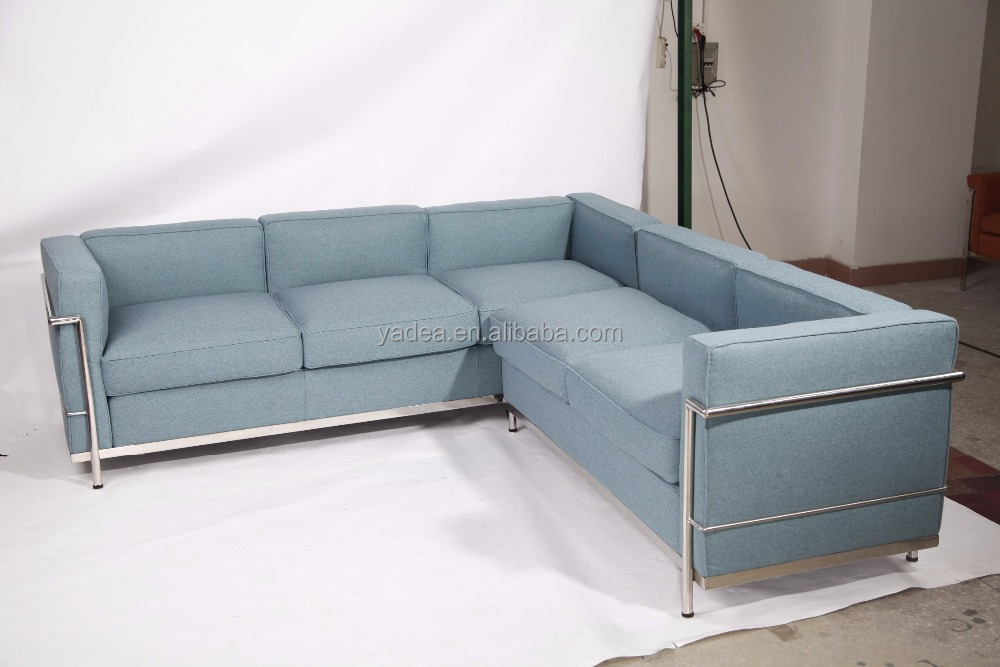 Imported cashmere 3 seater sofa+chaise Le corbusier LC2 petit confort sectional sofa