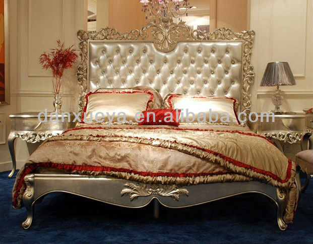 Tailand Turkish Pakistan King Style Wood Carved Royal Luxury Bed Room Set Br001