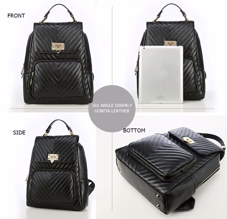 Hot style portable vintage classic black fashionable pu business backpack for lady