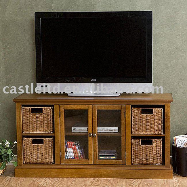 Entertainment Center With Storage Baskets Tv Stand Wood Tv Stand