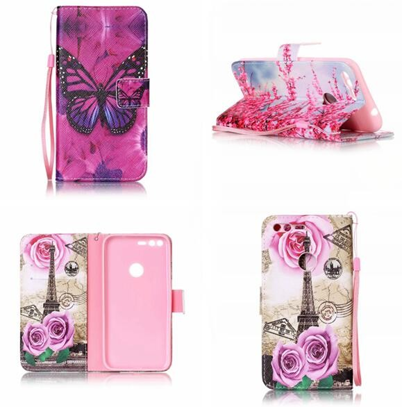 Luxury Leather Wallet TPU Case For Google Pixel XL Huawei P8 P9 Lite Honor 7 8 4C 5C Pouch Flower Tower Strap Stand Cover 120Pcs