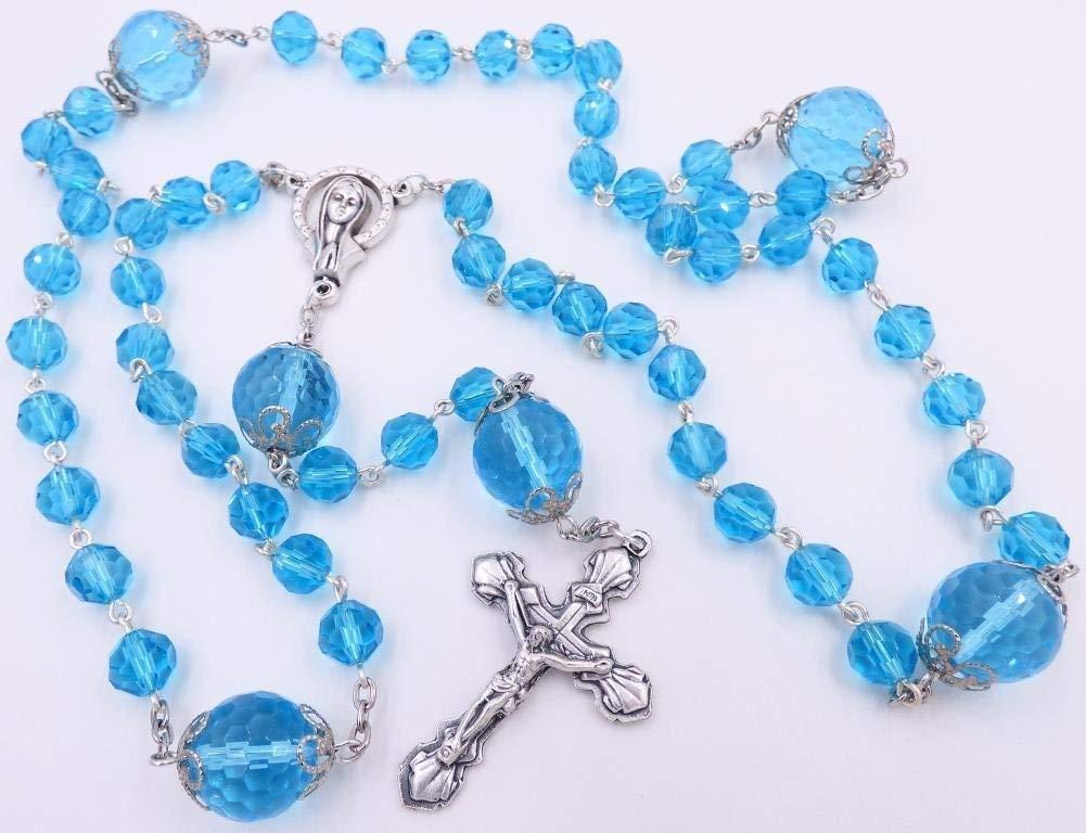 Handmade Bright Teal Blue Catholic Rosary Beads - Five Decade