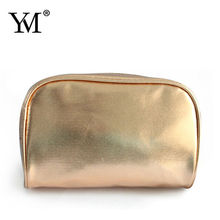 High quality hotsale gold pu makeup train case cosmetic bags