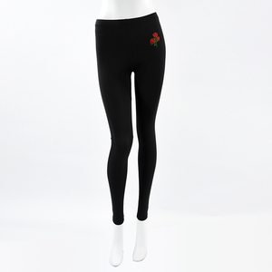 Custom Embroidered Logo Women Black Color Polyester Spandex Legging Pants