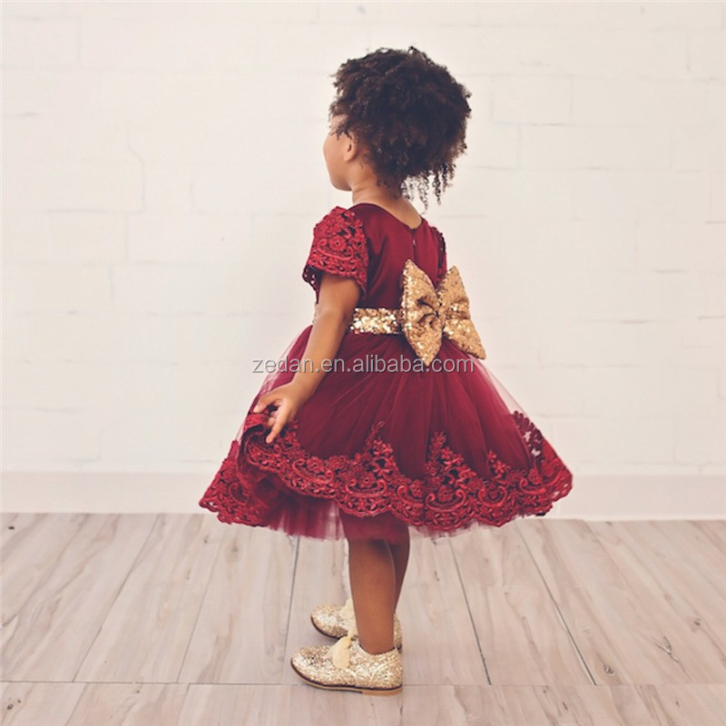 baby girl Princess Frill Dress Children Wedding Summer Bobbi Party Baptism Tutu Child Dress