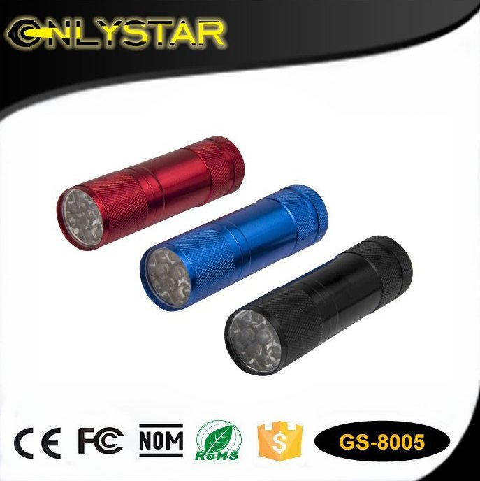 Onlystar CE ROHS Best Promotional Cheap Mini Torch Pocket Brightest Portable Aluminum 9led Flashlight With aaa Battery