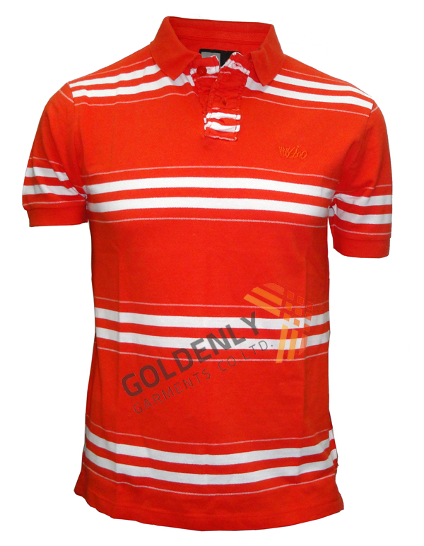 Mens red white stripe jersy polo shirts