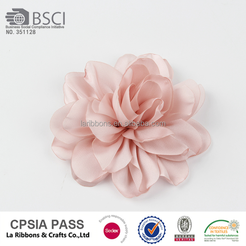 China decorative flesh color chiffon fabric flowers for clothing