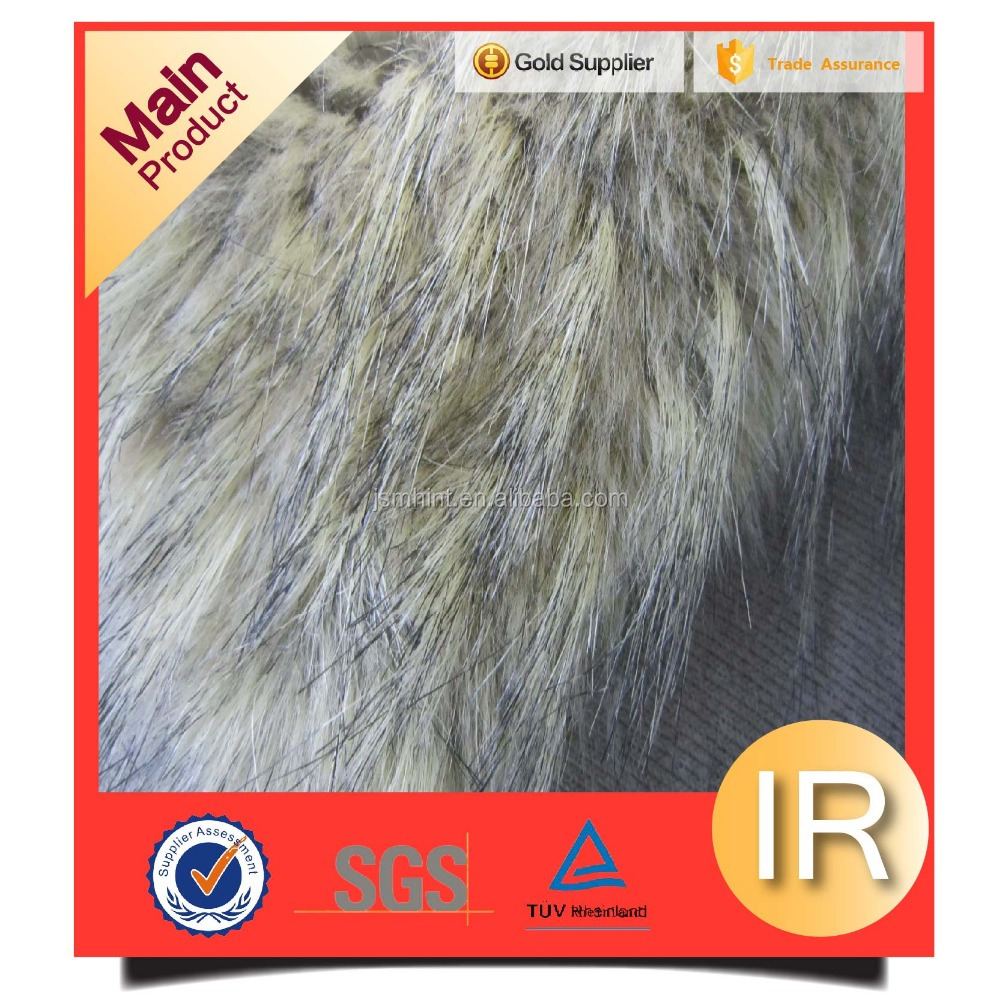 long pile tip faded and printed artificial fur fabric carpert