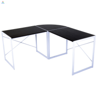L shape black wooden office computer tables laptop desks wholesale
