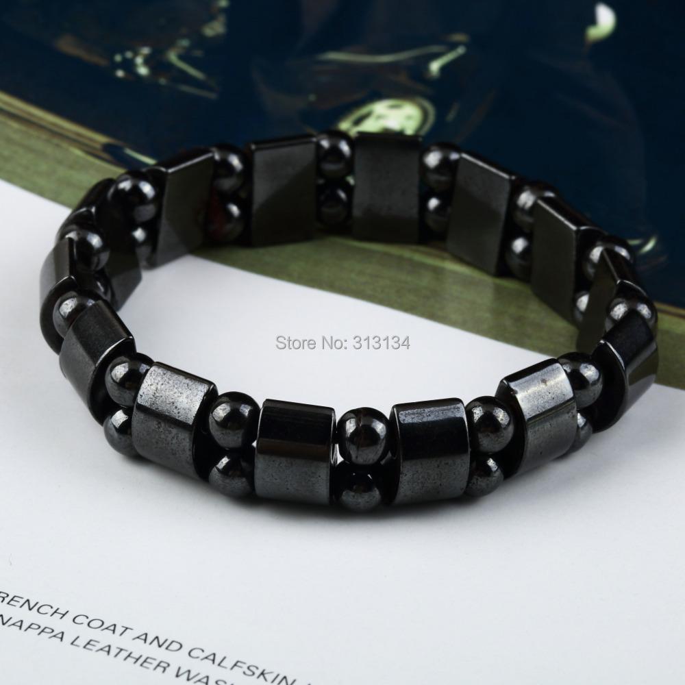 1 шт. высокое качество мужчины женщины черный магнитный гематит терапия анти-артрит бусины браслет 19 см