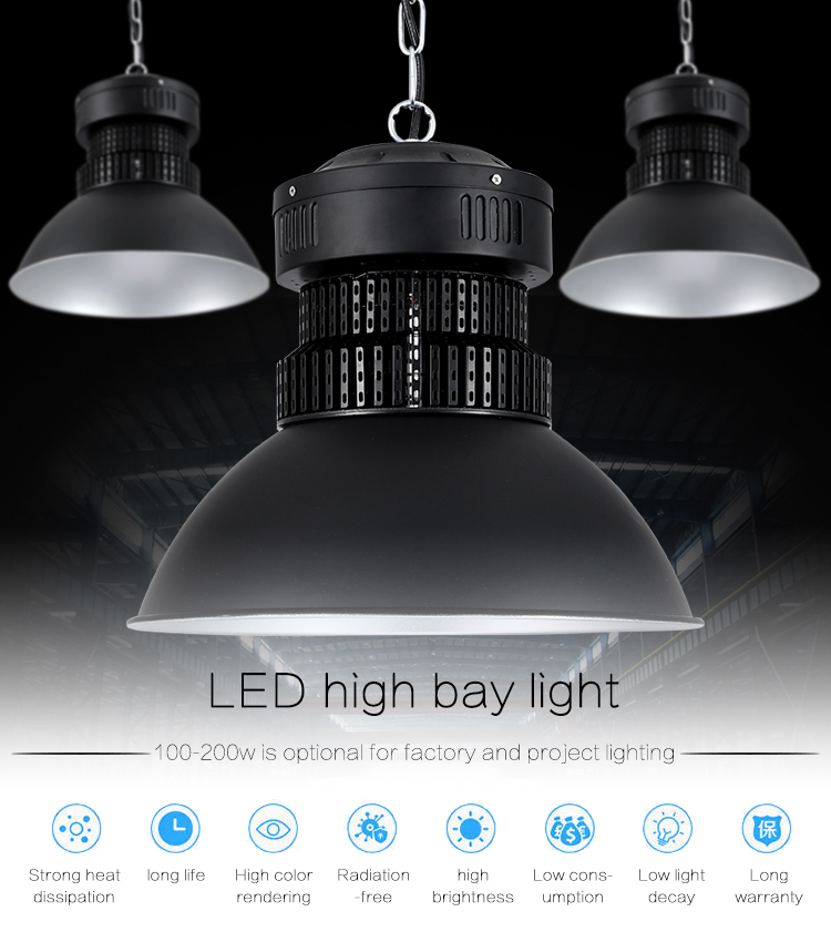 New products high quality aluminium waterproof ip44 warehouse SMD 100w 150w 200w led highbay light