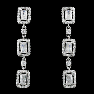 925 Sterling Silver Cut CZ Diamond Wedding Dangle Earrings White Rhodium Plated Drop Bridal fashion Jewelry