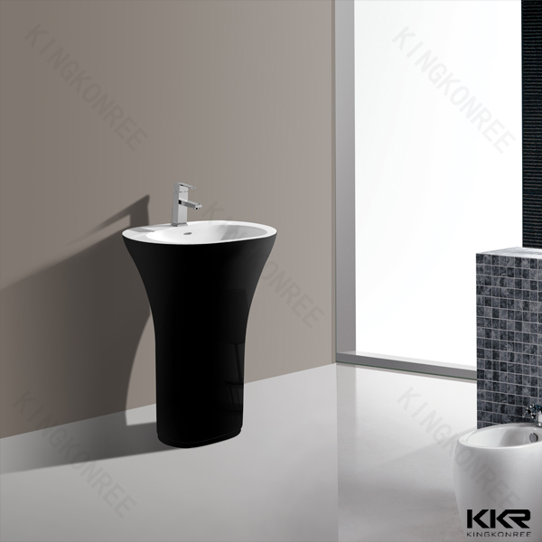 Oval Shaped Small Size Wash Pedestal Basin/ Solid Surface Stone Pedestal  Sink