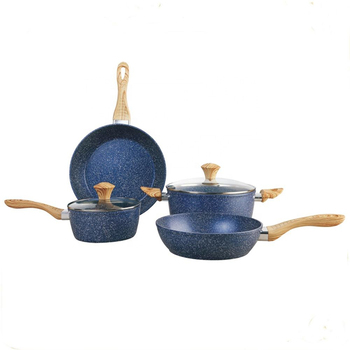 6pcs forged stone Aluminum Alloy non-stick cookware set