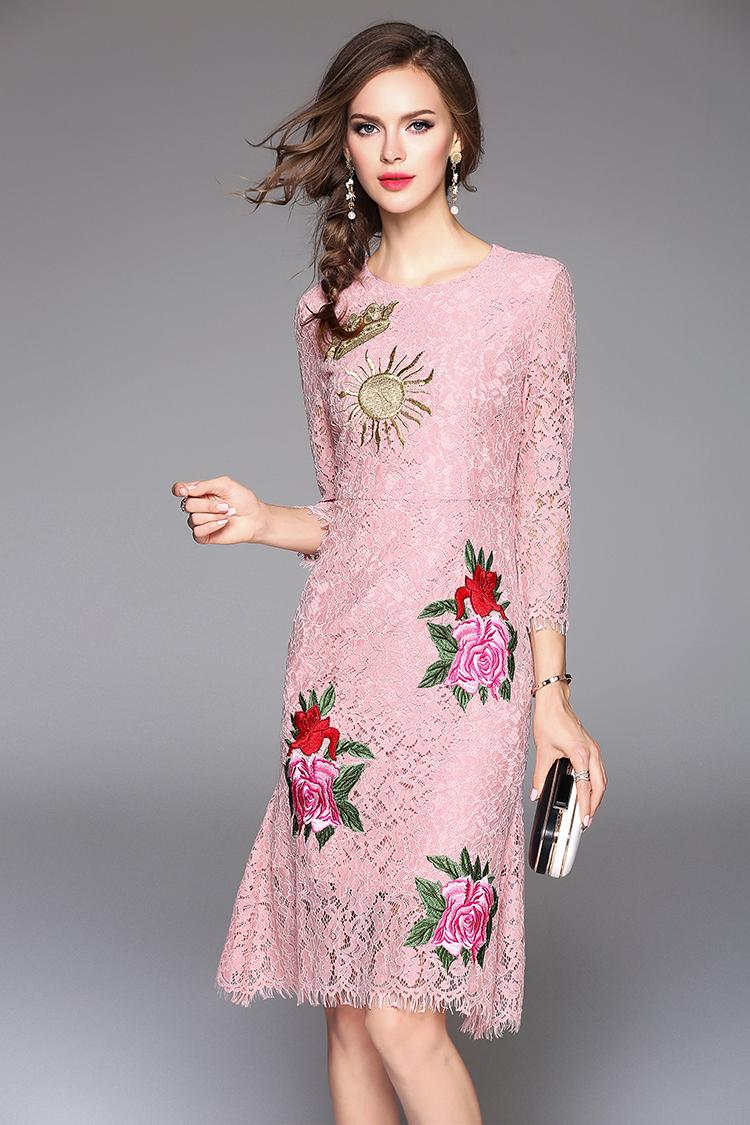 Manga larga de encaje Rosa vestido de flores bordado metal zip back ...