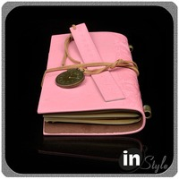 Pink cover pu leather notebooks with inside cover 6 card pocket