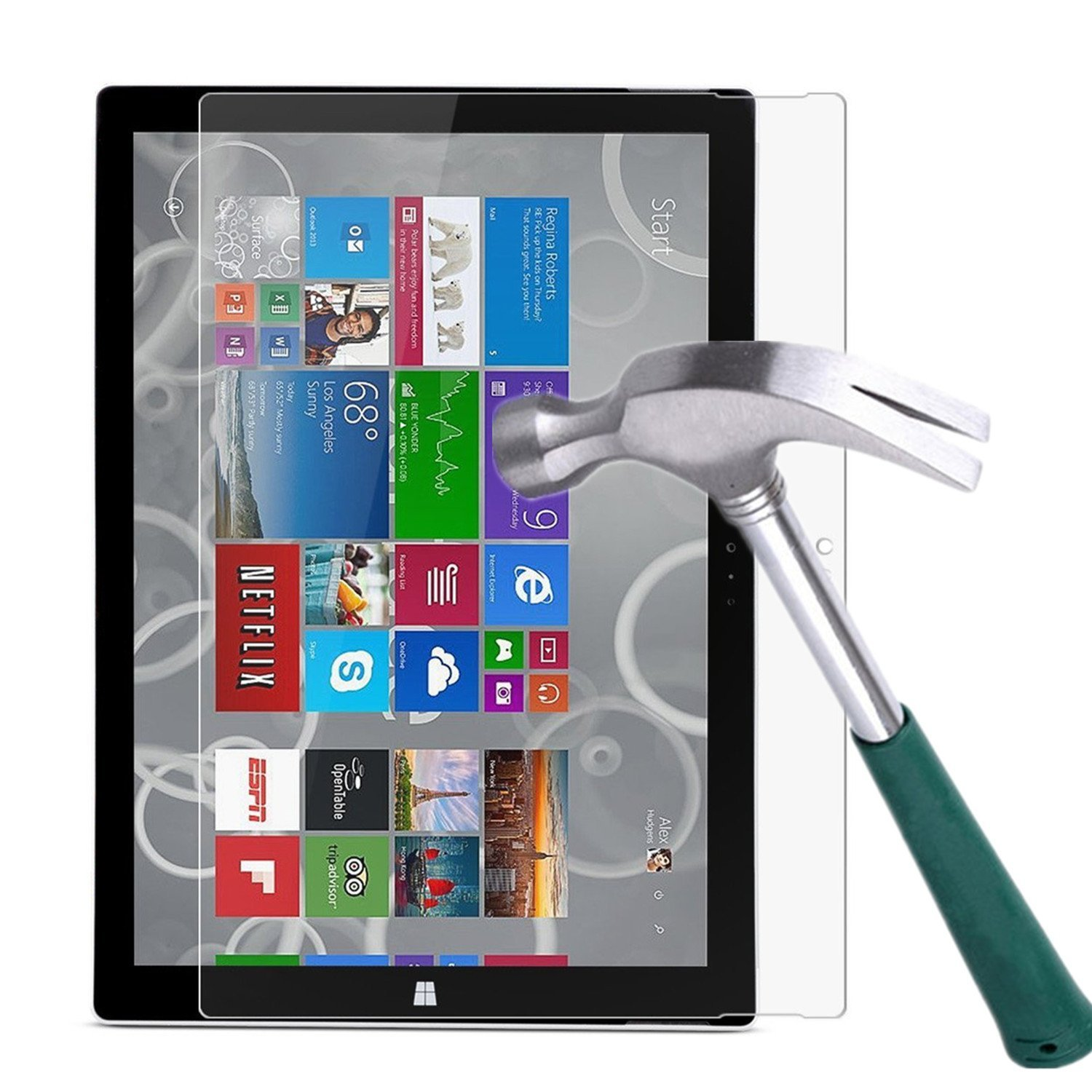 Surface Pro 3 Screen Protector,TANTEK [HD-Clear][Anti-Scratch][Anti-Glare][Anti-Fingerprint] Tempered Glass Screen Protector for Microsoft Surface Pro 3 12 inch (2014) ,-[1Pack]
